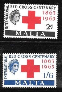 Malta 292-293: Queen Elizabeth II, Red Cross, MH, VF