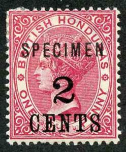 British Honduras SG37s 2c on 1d rose Opt SPECIMEN (paper adherence on reverse)
