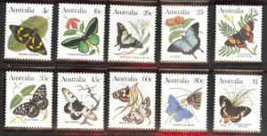 Australia Scott 872-880 MNH** Butterfly set