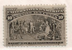 United States Stamp Scott #237, Mint Hinged/Remnant, Creased, 10C Columbian -...