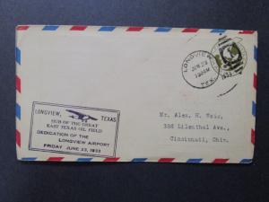 US 1933 Longview Texas Airport Dedication Cover - Z7413
