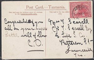 TASMANIA 1905 postcard Hobart to Launceston - Shot Tower...................53734