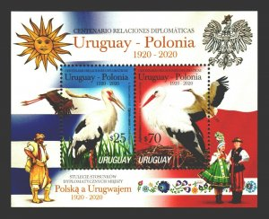 Uruguay Poland Bird stork typical costumes embroiders flags MNH Uruguay S/S