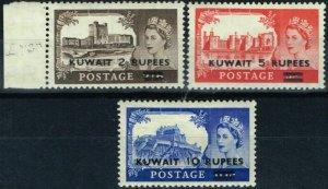 Kuwait 1957 Harrison set of 3 SG107a-109a Type II Fine Lightly Mtd Mint 2s6d MNH