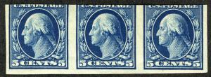 US  #347 SCV $150.00 Strip of 3, mint never hinged, super fresh color,  Fresh...