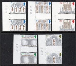 Great Britain Sc 1294, B2-5 1989 Christmas gutter pairs stamp set mint NH
