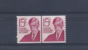 United States, 1305E, 15c Oliver W. Holmes Coil Line Pair Shinny Gum, MNH