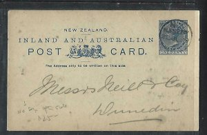 NEW ZEALAND COVER (P0911B) 1899  QV 1D PSC   FROM NASEBY TO DUNEDIN
