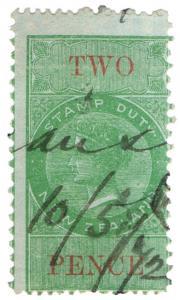 (I.B) New Zealand Revenue : Stamp Duty 2d (1867)