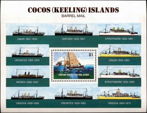 Cocos Islands #111-114, Complete Set(4), 1984, Ships, Never Hinged