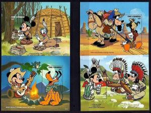 GAMBIA - 1995 - DISNEY - COWBOYS & INDIANS - MICKEY - MINNIE + 4 X MNH S/SHEETS!