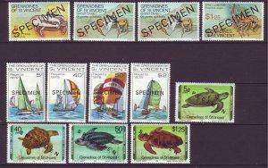 J24529 JLstamps 3 dif 1977 & 9 st vincent specimen set mnh #119-22,166-9,157-60