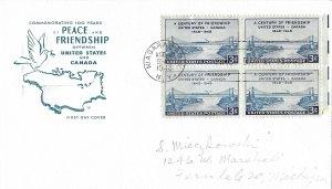 #961, 3c United States-Canada, Farnam cachet, block of 4