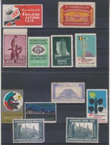 BELGIUM CINDERELLA 1910-59 GROUP OF TWELVE ITEMS UNUSED & MINT F,VF