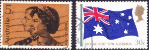 AUSTRALIA 1970 QEII 5c & 30c Royal Visit Set SG456/457 FU