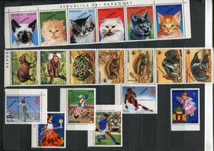 Paraguay 19 stamps specimen Muestra incl. 2 strips MNH 4849