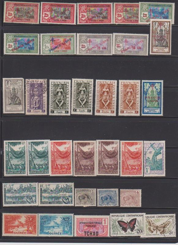 LOT OF DIFFERENT STAMPS OF FRANCE COLONIES MINT& USED (35) LOT#141