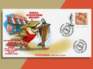 Fresh Catch From The Faroes: Actual Piece Of Cod Skin On Stamp! Colorful FDC!