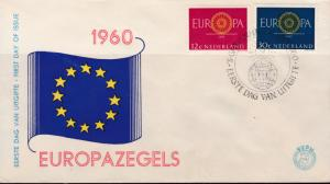Netherlands 1960 Europa on Clean Un-Addressed FDC Color Cachet  VF