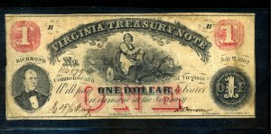 State of Virgina 1862 $1 Note Creases