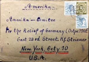 ALLEMAGNE / DEUTSCHLAND - 1947 Allierte Besetzung Mi.928, 947(x2) /cover to USA