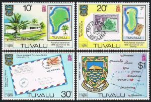 Tuvalu 133-136, 136a S/S, MNH. LONDON Stamp Exhibition. Tree, Map, Letter, 1980