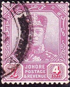 MALAYA JOHORE 1924 4c Dull Purple & Carmine SG108 FU