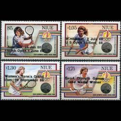NIUE 1988 - Scott# 560-3 Tennis Set of 4 NH