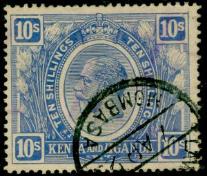 KENYA and UGANDA SG94w, 10s Brt Blue WMK Crown to right of CA, FU. Cat £550.
