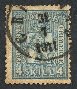 01900 Norway Scott #14 4-Skilling Blue, thin paper, used SOTN cancel