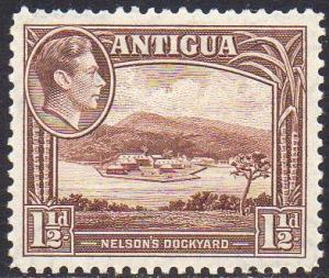 Antigua 1938 1½d Nelson´s Dockyard (chocolate- brown) MH