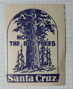Santa Cruz CA Home of Big Trees Sequoia Company Brand Ad Poster Stamp