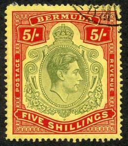 Bermuda SG118b KGVI 5/- Pale Green and Red/yellow Line Perf 14.25 (Ref 89)