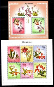 #8496 GUINEA-BISSAU 2010  FLORA  FLOWERS  ORCHIDS MS+S/S YV 3535-40 BL543 MNH