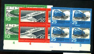 German DDR #529-31 MINT Blocks F-VF OG NH Cat $20
