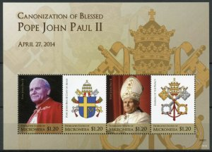 Micronesia Stamps 2014 MNH Canonization Blessed Pope John Paul II 4v M/S I