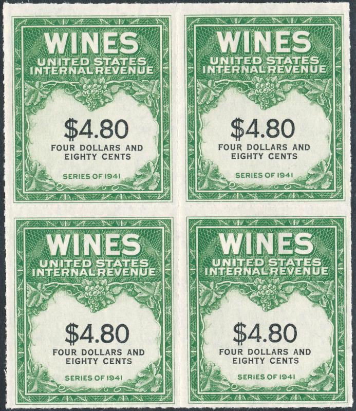 #RE158 $4.80 WINE STAMPS SERIES 1941 BLOCK OF 4 CV $700.00 BL
