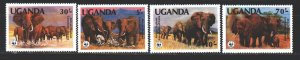 Uganda. 1983. 361-64. WWF elephants. MNH.