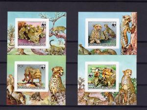 Upper-Volta (Burkina Faso) 1984 WWF Cheetah 4 S/S Imperforated Decorative Border