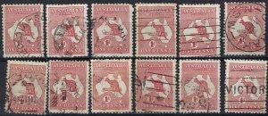 Australia 2 Used Lot of 12 (See Desc); SCV $21.00 ($1.75ea)