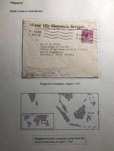 1951 Singapore Malaya On His Majesty Service Cover To Sandakan North Borneo