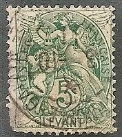 France-Off. Turkey 25 Used 1902 5c Liberty