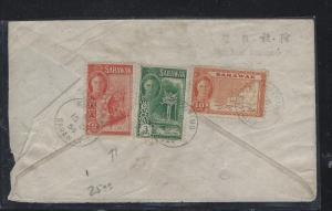 SARAWAK COVER  (PP0706B)  1954  KGVI 2C MONKEY+3C+10C MAP KUCHING TO SINGAPORE