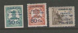 Spain 1936 Canary Islands AIR POST OVERPRINTS ED.11-13 MH