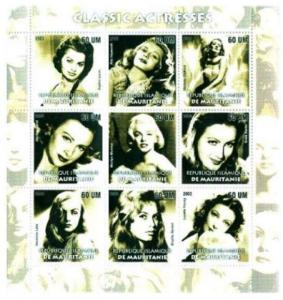 Classic Actresses on Stamps - 9 Stamp  Sheet -  - 7510
