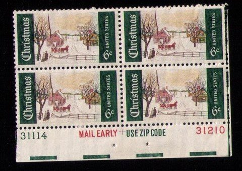 US Sc 1384  MH p#31114/31210 Mail Early Block of Four VF