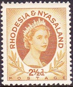 RHODESIA & NYASALAND 1956 EQII 2.5d Ocher SG3a MH