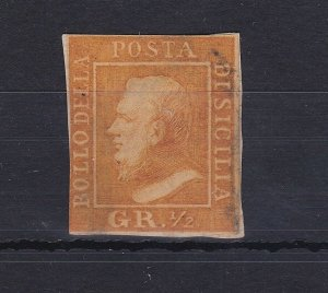 ROW129) Italian States: Sicily 1859 King Ferdinand II another ½gr yellow imperf
