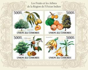 COMORES 2010 SHEET FRUITS AND TREES OF THE REGION INDIAN OCEAN ARBRES cm10125a