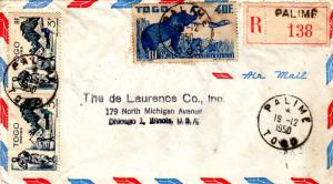 Togo 3F Village of Atakpame (2) and 40F Elephants 1950 Palime, Togo Airmail R...